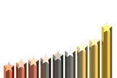 Diagram van gouden sterren Royalty-vrije Stock Foto's