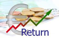 Diagram verso l'alto con la pendenza di colore ed il fondo dell'euro Immagine Stock