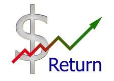 Diagram verso l'alto con la pendenza di colore ed il simbolo del dollaro Fotografia Stock