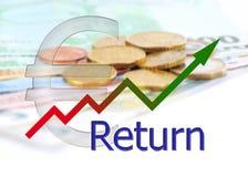Diagram verso l'alto con la pendenza di colore ed il simbolo dell'euro con euro fondo Immagini Stock Libere da Diritti