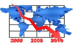 Diagram and world. Sign of world index (pointer downward royalty free illustration