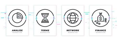 Diagram, zandklokken, wereld, geld Het bedrijfsthema glitched zwarte geplaatste pictogrammen royalty-vrije stock foto