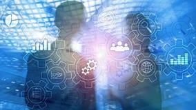 Diagrama abstrato do processo de negócios com engrenagens e ícones Conceito da tecnologia dos trabalhos e da automatização imagens de stock