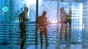 Diagrama abstrato do processo de negócios com engrenagens e ícones Conceito da tecnologia dos trabalhos e da automatização imagem de stock royalty free