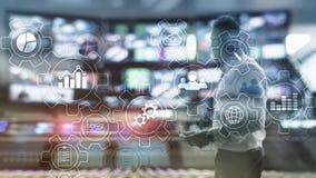 Diagrama abstrato do processo de negócios com engrenagens e ícones Conceito da tecnologia dos trabalhos e da automatização imagens de stock royalty free