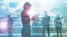 Diagrama abstrato do processo de negócios com engrenagens e ícones Conceito da tecnologia dos trabalhos e da automatização fotografia de stock royalty free