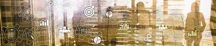 Diagrama abstrato do processo de negócios com engrenagens e ícones Conceito da tecnologia dos trabalhos e da automatização Bandei imagem de stock