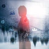Diagrama abstrato do processo de negócios com engrenagens e ícones Tecnologia dos trabalhos e da automatização fotografia de stock