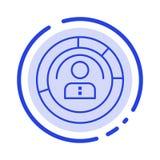 Diagrama, características, humanas, povos, pessoais, perfil, linha pontilhada azul linha ícone do usuário ilustração stock