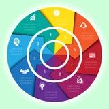 Diagrama cíclico de la plantilla para la posición de Infographic ocho Fotos de archivo