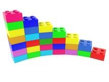 Diagrama colorido construido de ladrillos del juguete en blanco stock de ilustración