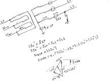 Diagrama con el análisis del cortocircuito de la red Fotos de archivo