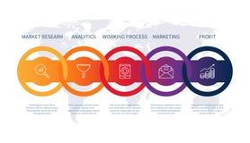 Diagrama creativo del concepto de la cronología del negocio del desarrollo de los datos de diseño de la carta del producto de la  ilustración del vector