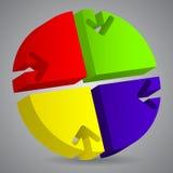 diagrama 3d con los recortes de la flecha Foto de archivo libre de regalías