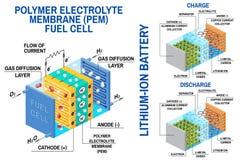 Diagrama da bateria da célula combustível e do Li-íon Vetor Dispositivo que converte a energia potencial química na energia elétr ilustração stock