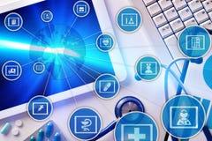 Diagrama da comunicação dos campos da medicina e do globaliza Fotografia de Stock