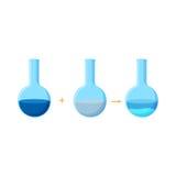 Diagrama da experiência química que mostra a reação entre dois compostos solúveis com uma formação de precipitado Fotos de Stock Royalty Free