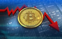 diagrama da falha do bitcoin 3d Imagens de Stock