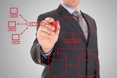 diagrama da rede informática Foto de Stock