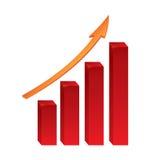 Diagrama de aumentação vermelho com seta Imagem de Stock Royalty Free