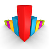 Diagrama de carta colorido da barra da finança do sucesso no branco Fotografia de Stock