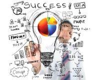 Diagrama de carta da torta do desenho do homem de negócio para o negócio Imagem de Stock Royalty Free