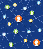 Diagrama de conexión social de red. ilustración del vector