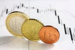 Diagrama de Curency e euro- moedas fotos de stock royalty free
