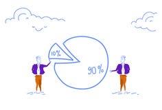 Diagrama de empanada de dos hombres de negocios que consigue a hombres de negocios de las partes de la desigualdad el por ciento  libre illustration
