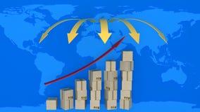 Diagrama de exportaciones cada vez mayores en comercio mundial libre illustration