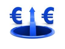 Diagrama de flecha con sig euro Imagenes de archivo
