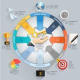 Diagrama de flecha del negocio Mano con clave Imagenes de archivo