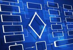 Diagrama de fluxograma azul Imagens de Stock Royalty Free