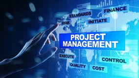 Diagrama de la gestión del proyecto en la pantalla virtual Concepto del negocio, de las finanzas y de la tecnología foto de archivo