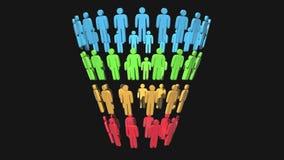Diagrama de las ventas del embudo del márketing con la gente ilustración del vector