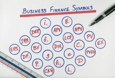 Diagrama de los símbolos de las finanzas del asunto Imagenes de archivo