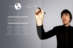 Diagrama de rede do desenho do homem de negócio no vidro imagens de stock