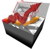 Diagrama de uma casa sob a construção com as setas de aumentação do negócio Foto de Stock