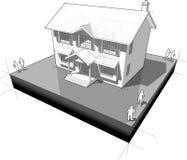 Diagrama de una casa colonial clásica stock de ilustración