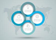 Diagrama del círculo de Infographic con Dots World Map Back Drop Imagen de archivo