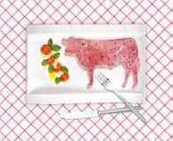 Diagrama del corte de la carne de vaca Fotografía de archivo