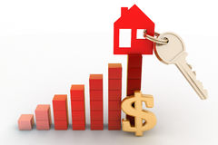 Diagrama del crecimiento en precios de las propiedades inmobiliarias Foto de archivo libre de regalías