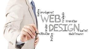 Diagrama del diseño web del dibujo de la mano del hombre de negocios imagen de archivo libre de regalías