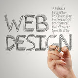 Diagrama del diseño web del dibujo de la mano del hombre de negocios imagen de archivo