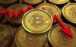 diagrama del fracaso del bitcoin 3d Foto de archivo libre de regalías