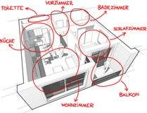 Diagrama do apartamento com notas tiradas mão (no idioma alemão) Imagem de Stock Royalty Free