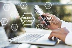Diagrama do conceito de Blockchain Foto de Stock