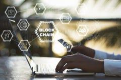 Diagrama do conceito de Blockchain Fotografia de Stock