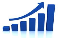 Diagrama do crescimento do negócio com seta azul Fotos de Stock Royalty Free