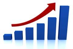 Diagrama do crescimento do negócio com seta vermelha Fotografia de Stock